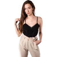 Blusas Combinação Com Rendas Feminina - Feminino-Preto