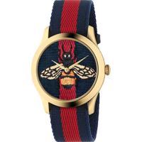 303ce70d00c Relógio Gucci Feminino Nylon Azul E Vermelho - Ya1264061