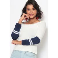 Blusa Canelada Listrada- Off White & Azul Marinhoeva