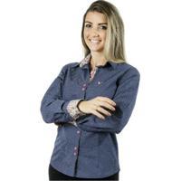 Camisa Pimenta Rosada Poá Dafné - Feminino-Azul+Branco