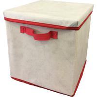 Caixa Organizadora Com Tampa E Alça 28X31X28Cm Organibox Bege/Vermelho