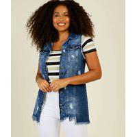 Colete Feminino Jeans Botões