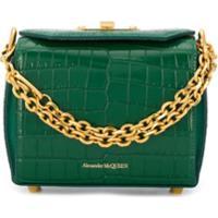 Alexander Mcqueen Crocodile-Effect Box Bag - Verde
