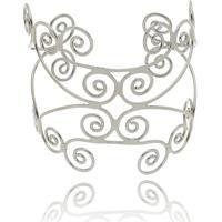 Bracelete Kitbox Estilizado Folheado Em Ouro Branco
