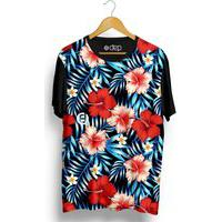 Camiseta Dep Flores Hibiscos Vermelho / Rosa Multicolorido