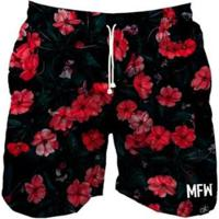 Short Tactel Maromba Fight Wear Red Flowers Com Bolsos Masculino - Masculino-Preto