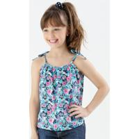 Blusa Infantil Floral Alças Finas Tiras Marisa