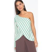 Blusa Assimã©Trica Listrada- Verde & Branca- Skunkskunk