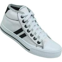 Tênis Infantil Star Feet Cano Médio Casual Masculino - Masculino-Branco+Preto