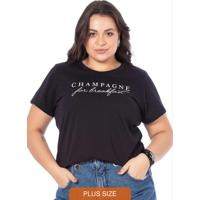 T-Shirt Feminina Champagne Preto
