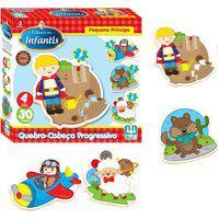 Quebra-Cabeça Nig Brinquedos - Progressivo - Pequeno Príncipe - Madeira - 30 Peças - Multicolorido