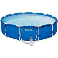 Piscina Estrutural 6.503 Litros Armação Azul + Capa + Filtro 110V Intex - Unissex
