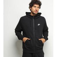 Jaqueta Nike Club Fz C/ Capuz Masculina - Masculino-Preto+Branco