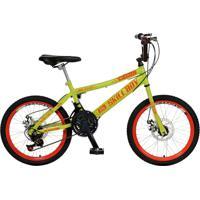 Bicicleta Infantil De Passeio Aro 20 Freio A Disco 21 Marchas Skyll Boy Quadro 12 Aço Amarelo Neon - Colli Bike - Tricae