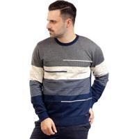 Blusa De Malha Masculina Com Listras Sumaré 10387 - Masculino-Cinza+Azul
