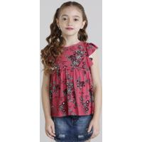 Regata Infantil Estampada Floral Com Babado Rosa Escuro