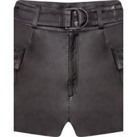 Shorts Cintura Alta Em Couro Preto Reativo - Lez A Lez