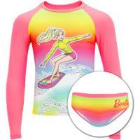 Conjunto De Camiseta Manga Longa Com Proteção Solar Uv E Sunkini Barbie 2001 Feminino - Infantil - Rosa