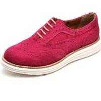 Sapato Social Feminino Top Franca Shoes Oxford Camurça Fuscia