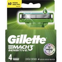 Lâminas Para Aparelho De Barbear Gillette Mach3 Sensitive 4 Unidades