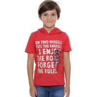 Camiseta Infantil Manga Curta Capuz Marisa
