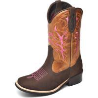 Bota Texana Click Calçados Couro Bico Quadrado Cano Médio Bordado Rosa Com Zíper