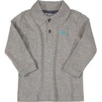 Camisa Polo Manga Longa Suedine Cinza