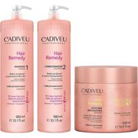 Kit Hair Remedy Cadiveu Shampoo 980Ml+Condicionador 980Ml+Mascara 500G