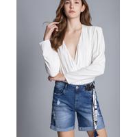 Bermuda Boyfriend Venice Lenço Jeans - Lez A Lez