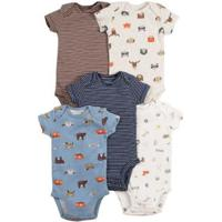 Kit Body Bebê Carter'S Wild Animals Masculino - Masculino-Bege+Azul