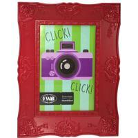 Porta Retrato Retrô De Plástico Vermelho 10 X 15 Cm 92511