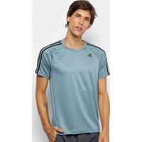 Camiseta Adidas D2M 3Stripes Mc Masculina - Masculino-Verde Claro