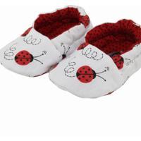 Pantufa Tatibella Baby Joaninha Branca E Vermelha