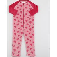 Pijama Macacão Infantil Em Fleece Estampado De Corações Rosa