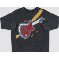 Blusão De Moletom Infantil Guitarra Com Vazados Cinza Mescla Escuro