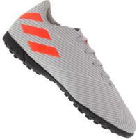Chuteira Society Adidas Nemeziz 19.4 Tf - Adulto - Cinza/Laranja