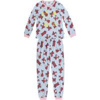 Pijama Raposinhas- Azul Claro & Vermelho Escuro- Kidpuc