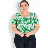 Blusa Floral Verde Com Detalhe Vazado Plus Size