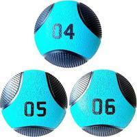 Kit 3 Medicine Ball Liveup Pro 4 5 E 6 Kg Bola De Peso Treino Funcional - Unissex