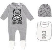 Moschino Kids Pijama Com Logo Teddy - Cinza