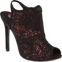 Open Boot Com Glitter- Preta & Vermelha- Salto: 10Cmschutz