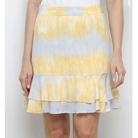 Saia Jolie Tie Dye Babados - Feminino-Amarelo