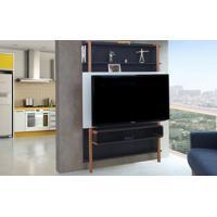 Rack Suspenso - Painel De Madeira Para Tv Preto Com Branco Para Tv Até 60 Polegadas Karl Woodinn - 134X25,5X180 Cm