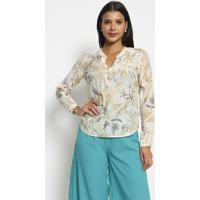 Blusa Floral Com Seda- Branca & Bege Clarovip Reserva