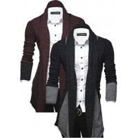 Kit 2 Cardigans Masculinos Elegante Assimétrico Lapela - Cinza Escuro E Vinho