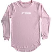 Camiseta Longline Stoned Manga Longa Pump Masculina - Masculino-Rosa