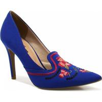 Sapato Zariff Shoes Scarpin Bordado - Feminino-Azul