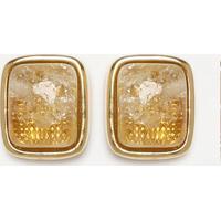 Par De Brincos Pedra- Amarelo & Dourado- 1,1X0,5Cmfabrizio Gianonne