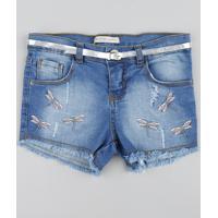 Short Jeans Infantil Com Bordado De Libélula Azul Médio
