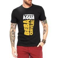 Camiseta Criativa Urbana Beba Cerveja Engraçadas - Masculino-Preto